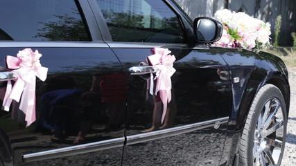 Wedding decorations on car