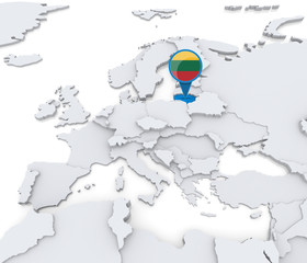 Lithuania on a map of Europe