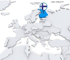 Finland on a map of Europe