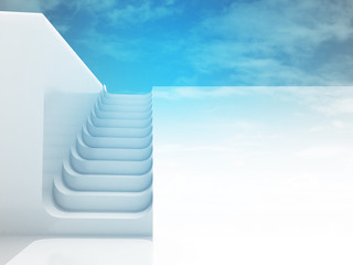 separated staircase in blue sky light design