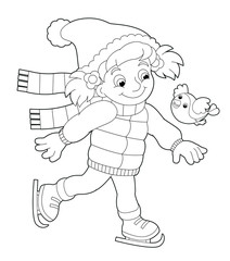 Winter activity - coloring page - illustration for the children