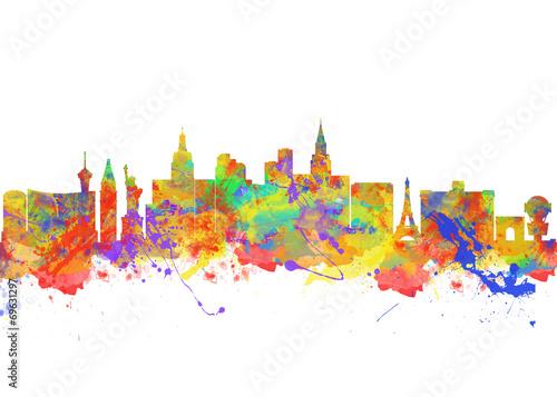 Poster Watercolor art print of the skyline of Las Vegas Nevada City USA