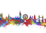 Watercolor art print of the skyline of London