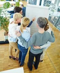 Team sucht Lösung in der Gruppe