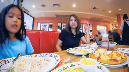 Time lapse of family dinner