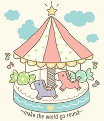Cute Carousel Illustration
