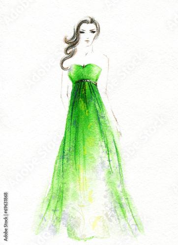 Papiers peints Portrait Aquarelle woman in dress