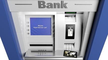 Atm machine display closeup with credit card