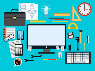 Programmer workplace flat vector concept