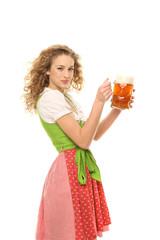 Mädchen im Dirndl mit Bier