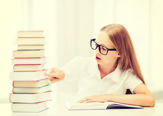 student girl studying at school