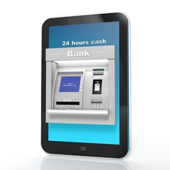 Atm machine display on tablet isolated on white
