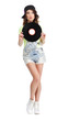 Cute Young Woman in Jeans Shorts holding Vinyl Record
