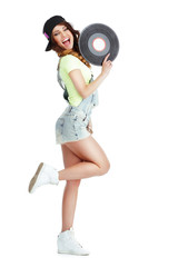 Elated Woman with Vinyl Record Isolated on White Background