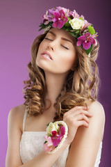 Sentiment. Woman with Bouquet of Flowers Dreaming. Femininity