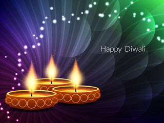 Colorful card design for Diwali festival