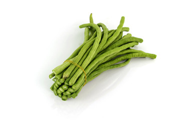 chopped Cow pea beans on a white background