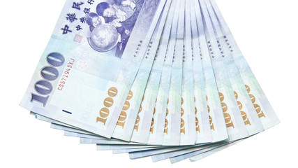 Taiwan dollar banknotes on white background