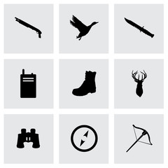 Vector black hunting icons set