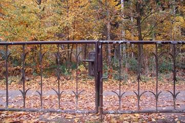 Gartentor am Herbstwald