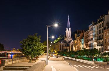 Lyon by night, France