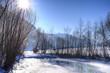 canvas print picture - Gegenlicht in verschneiter Flusslandschft