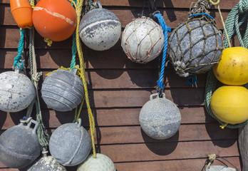 vintage ball floats for Newfoundland fisherman