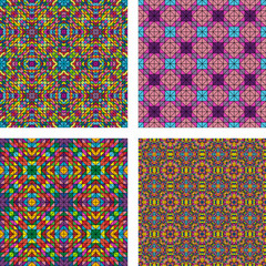 Colorful seamless pattern background set