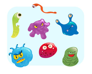 virus and bacteria set vector illustration