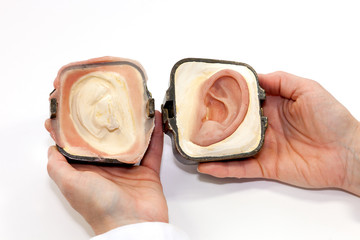 Silicone Made Human Ear in Plaster Form.