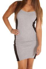 close up gray black dress