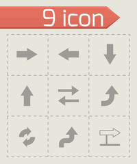 Vector black arrows icons set