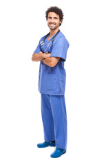 Male nurse isolated on white