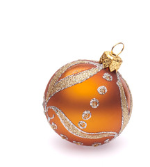 orange christmas ball on white background