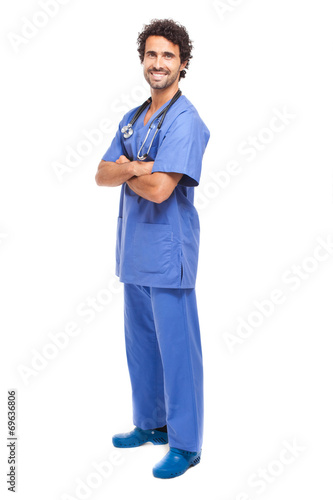 canvas print picture Male nurse isolated on white