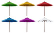 Green, Yellow, Red, Blue, Purple and White Beach Umbrellas