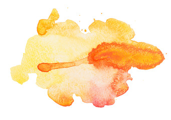 Yellow colorful abstract hand draw watercolour aquarelle art