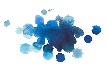 Abstract watercolor aquarelle hand drawn blue drop splatter