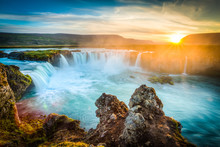 "Постер, картина, фотообои ""Iceland, Godafoss at sunset, beautiful waterfall, long exposure"""