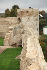 old fortress wall Pskov  Russia autumn