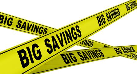 Большая экономия (big savings). Жёлтая оградительная лента