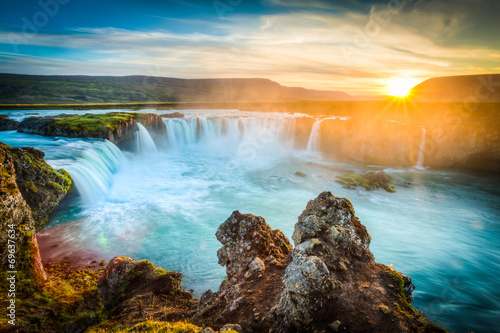 Poster Watervallen Iceland, Godafoss at sunset, beautiful waterfall, long exposure