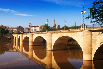 Old bridge  over Ebro. Logrono, Spain
