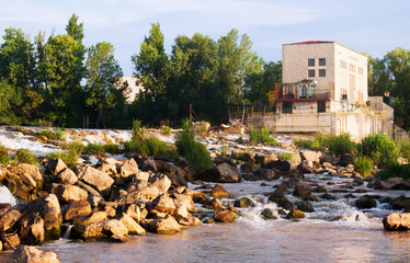 dam at Ebro river. Logrono