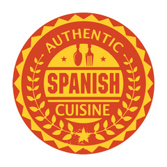 Abstract stamp or label with the text Authentic Spanish Cuisine