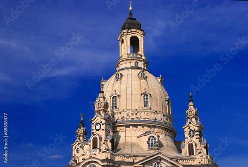 canvas print picture Kuppel der Frauenkirche vor blauem Himmel
