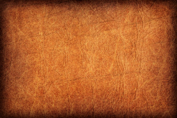 Old Vivid Ocher Leather Creased Mottled Vignette Grunge Texture