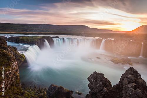 Iceland, Godafoss at sunset, beautiful waterfall, long exposure - 69638641