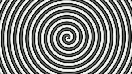 Black and white hypnotic circle, loop, 3d view