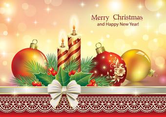 Christmas card with candles and Christmas balls